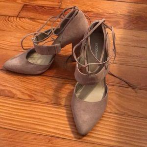 BCBGeneration nude suede block heels